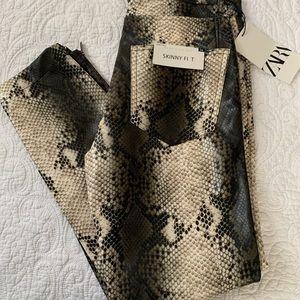 Zara skinny fit snakeskin pants